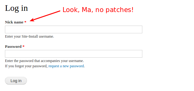 Screenshot of an alteration to the user login form without any patches