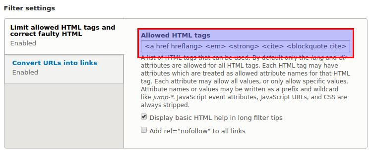 Screenshot of text format edit screen where you can choose the allowed HTML tags
