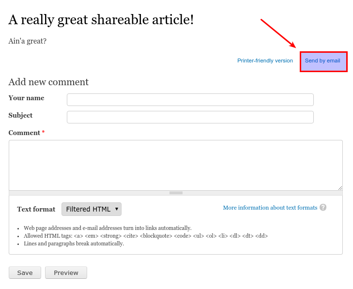 Screenshot of an article with a 'Send by email' link