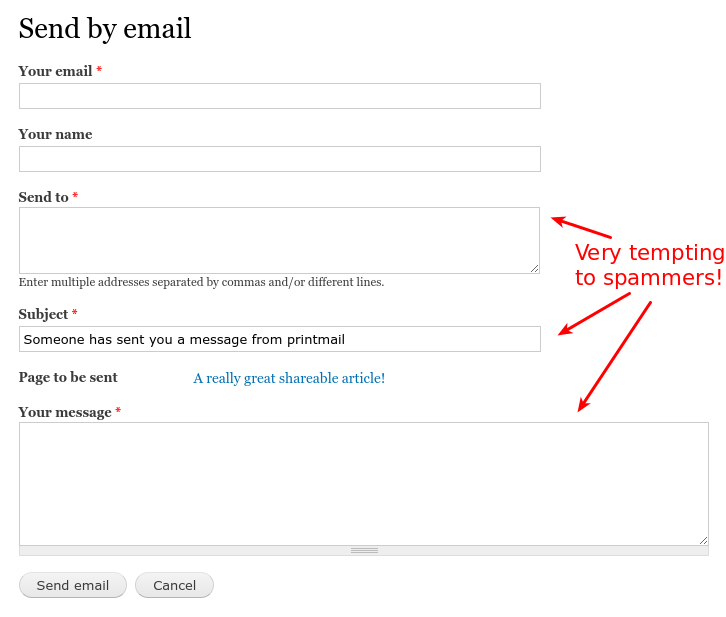 Screenshot of the 'Send by email' form, pointing out the 'Subject' and 'Message' fields
