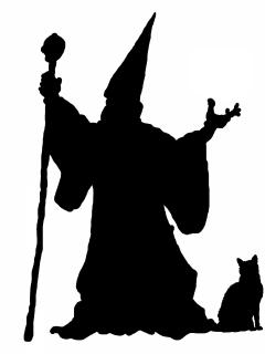 Silhouette of a wizard.
